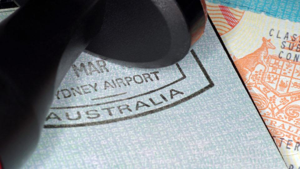 australian immigration passport with passport and visa