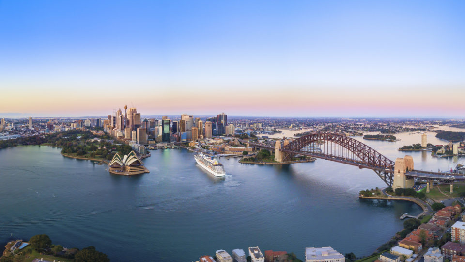Aerial Panoramic View of Beautiful Sunrise at Sydney City Skyline